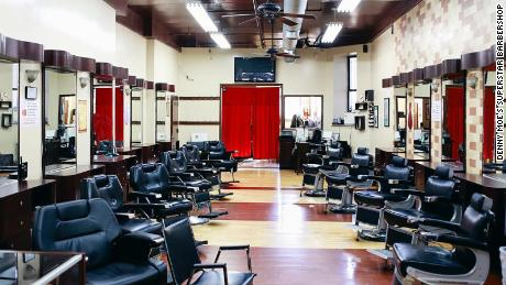 The interior of Denny Moe's Superstar Barbershop in Harlem, New York, which was forced to indefinitely close recently due to coronavirus-related social distancing mandates.