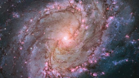 M83 is a nearby spiral galaxy, and this 2014 Hubble image showcases its thousands of clusters of stars and supernova remnants. The young stars can be seen in pink bubbles of hydrogen gas.