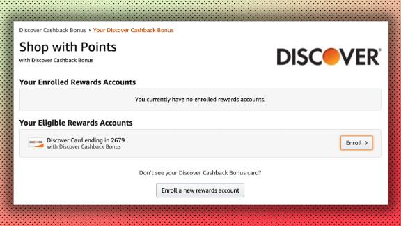 """Add your Discover credit card to your Amazon account and enroll in """"Shop with Points."""""""