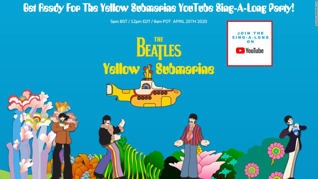 The Beatles will stream their animated film 'Yellow Submarine' Saturday and host a sing-a-long watch party