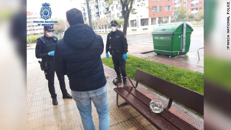 The national police in Spain published a photo of a citizen who was fined for walking his fish.