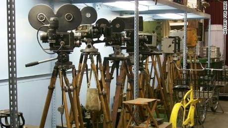 Some of the vintage camera collection at History for Hire.