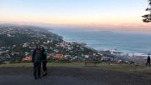 Julia Hollingsworth's parents on an evening walk in Wellington during New Zealand's nationwide lockdown.