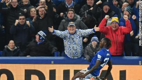 Kean celebrates after scoring against Newcastle United.
