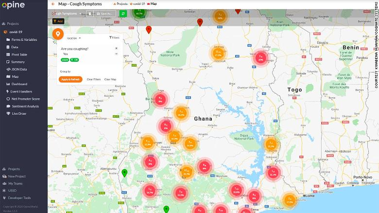 Opine Health Assistant map showing the coronavirus reported cough symptoms in Ghana