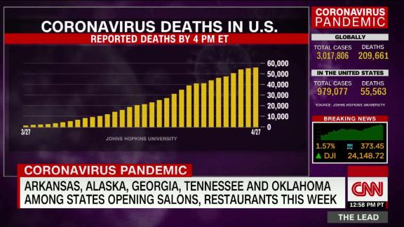 Image for US coronavirus cases surpass 1 million as projections show deaths could rise in coming weeks