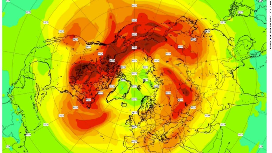Total column ozone field (in Dobson Units) from CAMS on 29 March 2020 showing values below 250 DU over large parts of the Arctic.