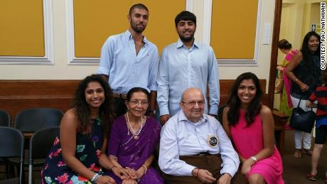 Suri Nathwani celebrating his 80th birthday with his grandchildren in August 2018.