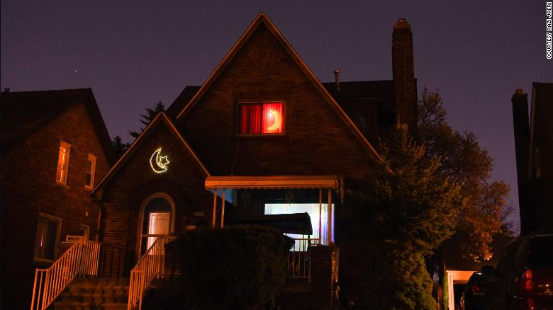 A home in Dearborn lit up for Ramadan in 2019.