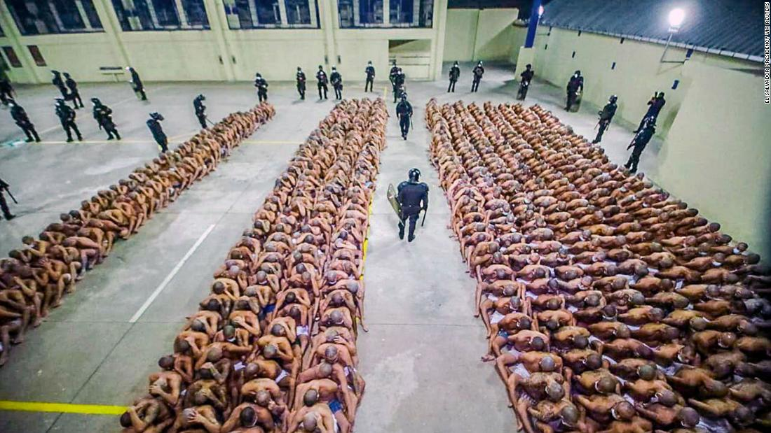 Gang members at Izalco jail are lined up together during a 24-hour lockdown ordered by El Salvador's President Nayib Bukele.