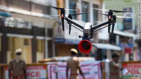 A drone used by police to monitor activities of people and spread awareness announcements in Chennai on April 4, 2020.