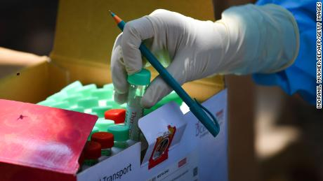A sample tube at a Covid-19 coronavirus testing drive inside the Dharavi slums during a government-imposed nationwide lockdown in Mumbai on April 16, 2020.