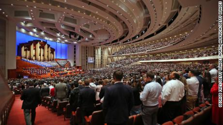 Over 20,000 members of the Church of Jesus Christ of Latter-day Saints and the Tabernacle Choir at Temple Square sing a song together at first session of the 189th Annual General conference of the church at the Conference Center on April 6, 2019 in Salt Lake City, Utah.