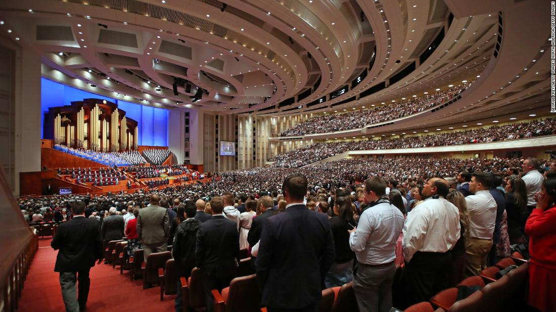 SALT LAKE CITY, UT - APRIL 06: Over 20,000 members of the Church of Jesus Christ of Latter-Day Saints and the Tabernacle Choir at Temple Square sing a song together at first session of the 189th Annual General conference of the church at the Conference Center on April 6, 2019 in Salt Lake City, Utah. Several thousands faithful Mormons from around the worlds will gather for two days of instruction from church leaders. (Photo by George Frey/Getty Images)