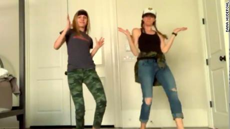 The mom and daughter pair dressed up to go the extra mile in their dance challenge.
