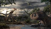 An abelisaur, a predatory dinosaur, rests while several pterosaurs fight over leftovers from a carcass. Artwork by Davide Bonadonna, under the scientific supervision of Simone Maganuco and Nizar Ibrahim.
