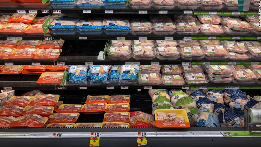 A view of the chicken and meat section at a grocery store, April 28, 2020 Washington, DC.