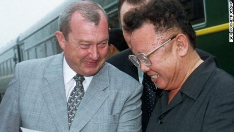 Kim Jong Il, right, and Konstantin Pulikovsky, who was the Russian President's representative in the Far East, are seen in the Russian city of Vladivostok on July 26, 2001.
