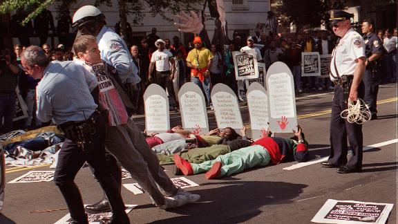 Protester Mark Milano is arrested during an AIDS demonstration in Washington DC in 1994.