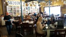 Customers at Puckett's Grocery & Restaurant on Monday in Franklin, Tennessee, one of the first US states to reopen restaurants.