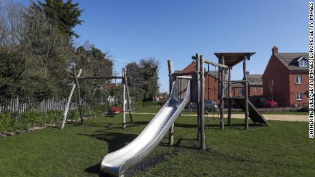 A park in Aylesbury, England, on March 24 after the government announced playgrounds were to close to enforce social distancing.