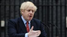 Boris Johnson speaks in Downing Street as he returns to work following his recovery from Covid-19 on April 27.
