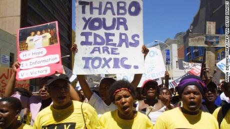 AIDS activists protest in Cape Town 26 November 2001 against the government's policy on HIV/AIDS.