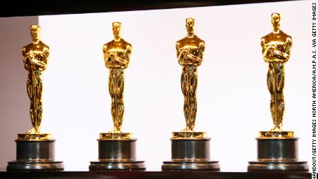 Oscars statuettes are on display backstage during the 92nd Annual Academy Awards at the Dolby Theatre on February 9 in Hollywood, California.