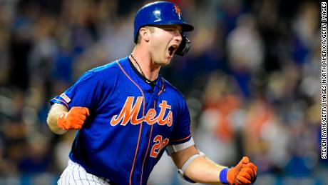 Pete Alonso of the New York Mets celebrates his game-winning home run
