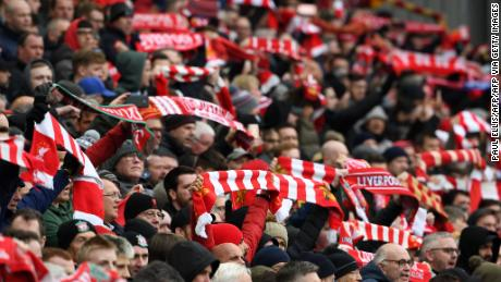 Liverpool supporters pack the stands at Anfield.