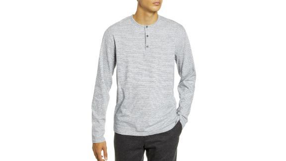 Vince Stripe Long Sleeve Henley T-Shirt