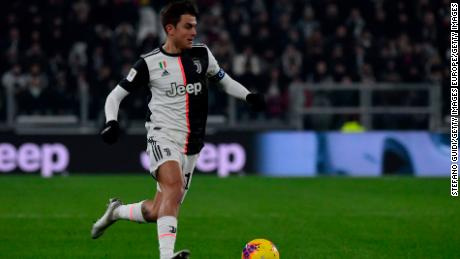 Dybala controls the ball during the Coppa Italia match against Udinese.
