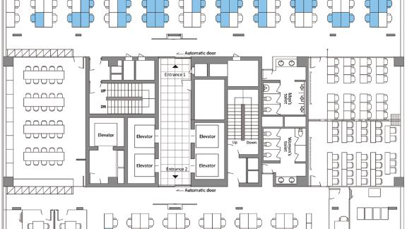 A diagram from the CDC site shows the floor plan of the 11th floor of a building in Seoul, South Korea, that was the site of a coronavirus disease outbreak in 2020. The blue shading shows the seating locations of people who became infected.
