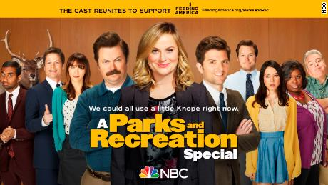 "The cast of ""Parks and Recreation"" is getting back together to support Feeding America."