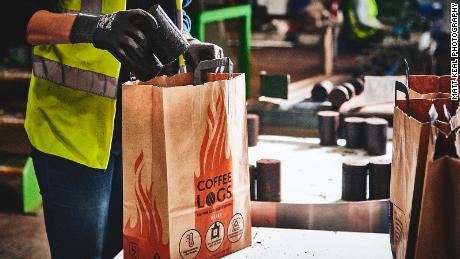 A bag of Bio-bean coffee logs costs around £7 ($8.70) -- similar to other fire logs available in the UK, says the company's founder.