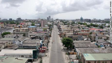 An aerial view of empty streets of Lagos, Nigeria's most populous city.