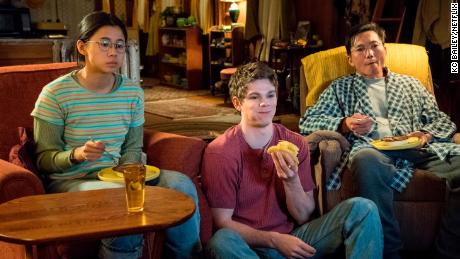 "Leah Lewis, Daniel Diemer, and Collin Chou in a scene from ""The Half of It."""