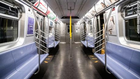 A empty subway car is seen on April 28 in New York City.