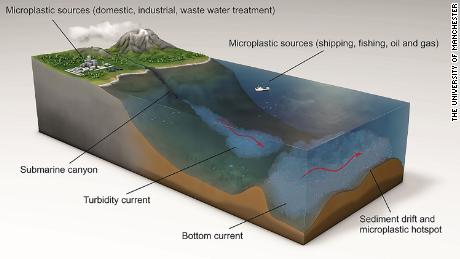 This graphic shows how microplastics are transported by currents.