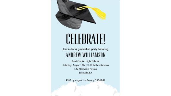 Grad Cap Graduation Party Invitation