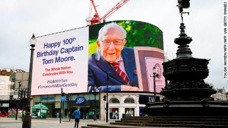 A birthday message for Moore was displayed on advertising boards in a deserted Piccadilly Circus in London on April 30 last year.