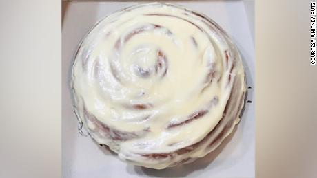 Whitney Rutz is making giant cinnamon rolls for healthcare workers.