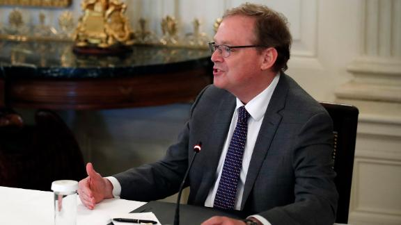 White House senior adviser Kevin Hassett speaks about reopening the country, during a roundtable with industry executives, in the State Dinning Room of the White House, Wednesday, April 29, 2020, in Washington. (AP Photo/Alex Brandon)