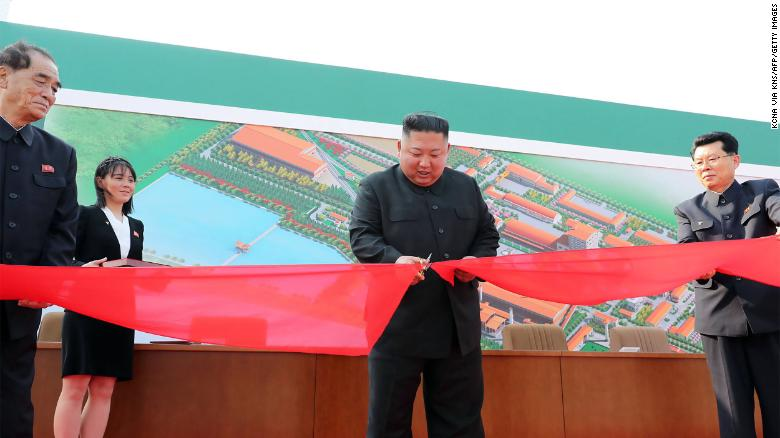 A photo released from North Korea's official Korean Central News Agency on May 2 reportedly shows Kim Jong Un attending a ceremony to mark the completion of Sunchon phosphatic fertilizer factory in South Pyongan province. CNN cannot independently confirm the reporting of KCNA.