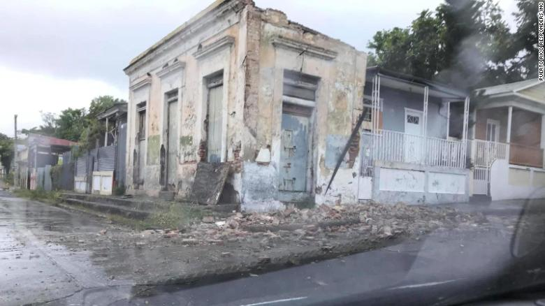 One of the buildings damaged by Saturday's earthquake