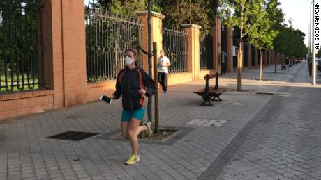 Some runners and cyclists wore masks as Spaniards were allowed outside to exercise for the first time in seven weeks.
