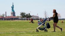 People visit Liberty State Park in Jersey City, New Jersey, on Saturday.