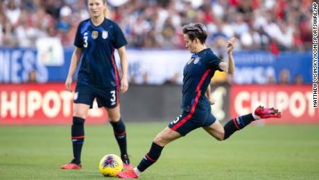 USA midfielder Megan Rapinoe scores a goal off a free kick during the SheBelieves Cup soccer game between the United States and Japan on March 11.