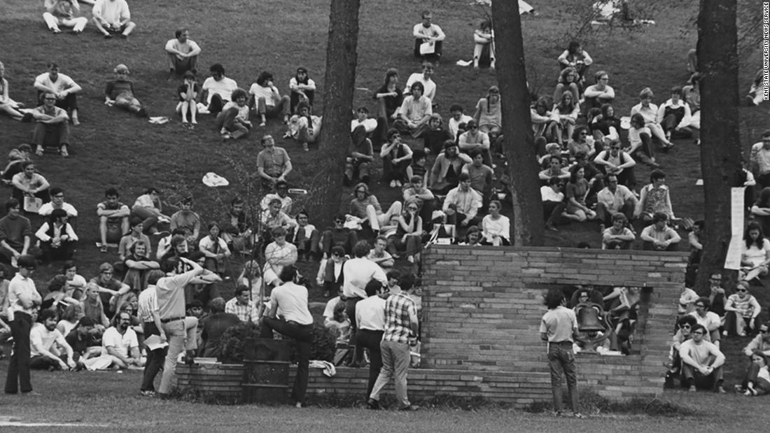 Students at Kent State staged their first campus protest on May 1, 1970.