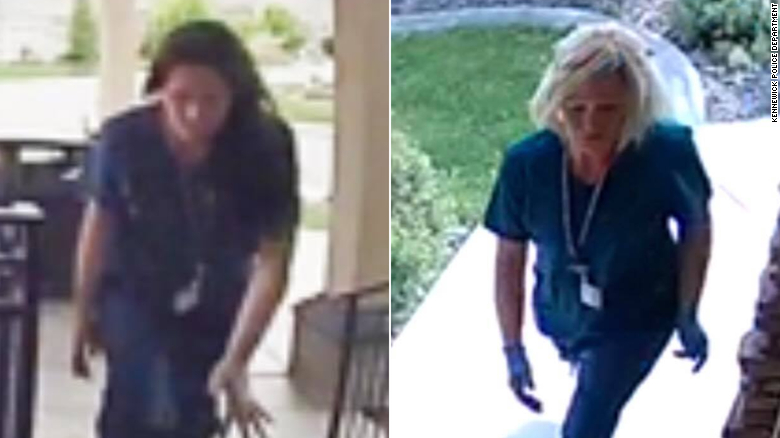 Police say these women are suspects in a porch piracy investigation..
